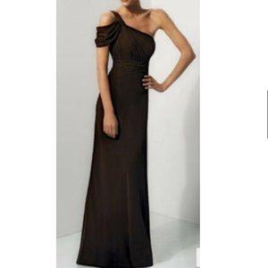 Bari Jay One Shoulder Brown Chiffon Evening Gown